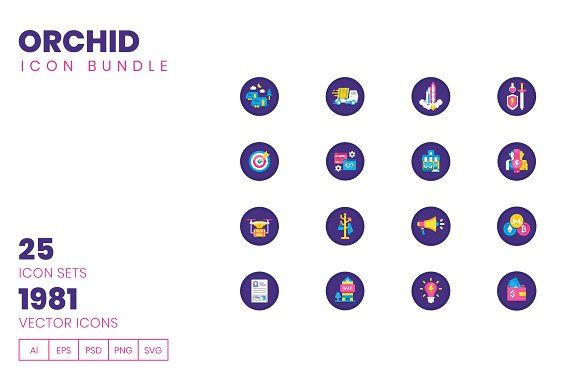 1980 Icons Pack Orchid Icon Bundle