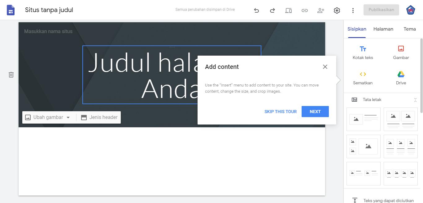 Cara Membuat Website Gratis Dari Google Sites